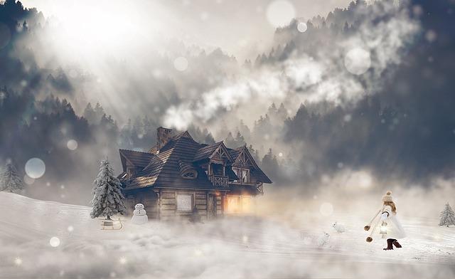 srub v zimě